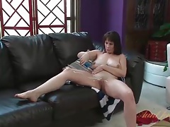 Red lace boyshort panties on a curvy mom tubes