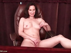 Sensual nipple and pussy play with a cute milf tubes