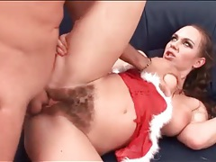 Hardcore christmas sex with a cumshot in her pubes tubes