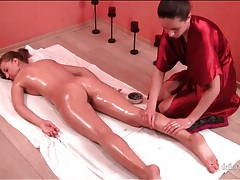 Teen ass and legs get a nice massage tubes