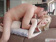 Breathtaking blonde in red lipstick gets a creampie tubes