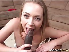Beautiful white girl on her knees sucking black dick tubes