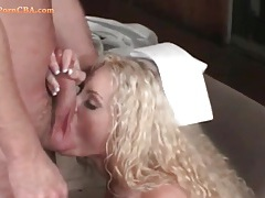 Fake boobs bimbo in white lingerie sucks cock tubes
