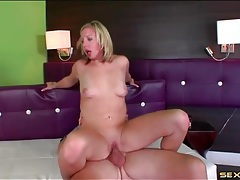 Pierced clit girl rides him with her bald pussy tubes