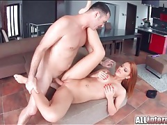 Fucking a shaved redhead gets him off inside her tubes