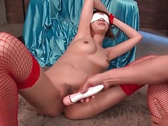 Cumshots on an asian girl moaning from toy joy tubes