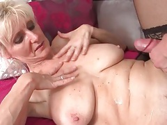 He cums on the hot mature blonde and keeps fucking her tubes