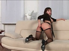 Sultry girl in fishnets sucks cock tubes