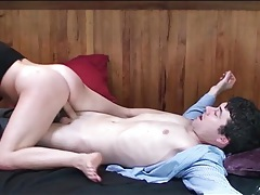 Babe on top milking his cock with her cunt tubes