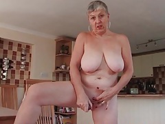 Wet granny cunt fucked by a pink dildo tubes