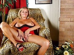 Hot milf in a tight red dress shows off her cunt tubes