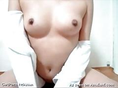 Asian finger fucks her hairy twat deeply tubes