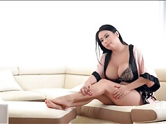 Delicate foot massage for an asian with massive tits tubes
