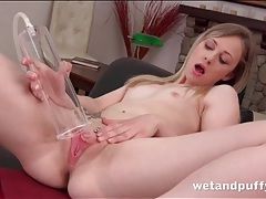 Pierced pussy solo girl uses a pump on her cunt tubes