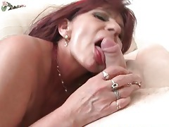 Fucked mature redhead takes a load on her tits tubes