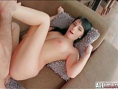 Stiff shaft slams the ass of a black haired slut tubes