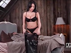 Anissa kate puts on a stunning black leather dress tubes