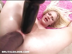 Aaliyah is double penetrated and gaped by brutal dildos tubes