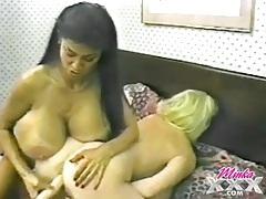 Vintage huge tits pornstars share a double dildo tubes