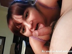 Pov titjob makes his thin cock spew cum tubes