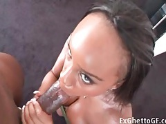 Horny black pussy leaves cream on his big cock tubes