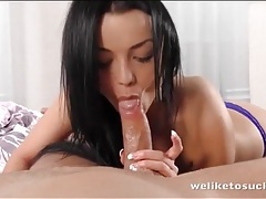 Hottie rides a hard boner with her bald pussy tubes