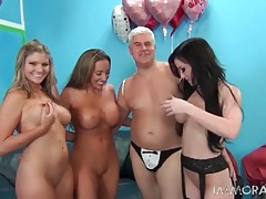 Three pornstar babes gobble his rod and ride it tubes