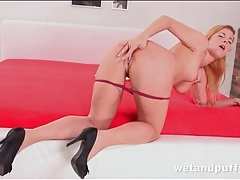 Babe in a perfect dress strips and fingers that ass tubes