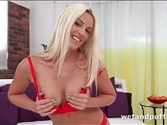 Sexy red panties ride up between her cunt lips tubes