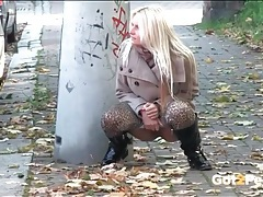 Leopard print leggings and boots on a pissing girl tubes