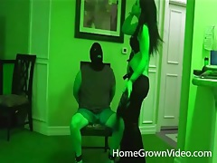 Amateur femdom play excites his cock tubes