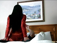 Red body stocking on a sex lap dancing girl tubes