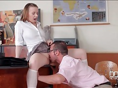 Schoolgirl olivia grace is happy to blow her teacher tubes