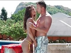 Hot body beauty in a shiny bikini sucks cock outdoors tubes