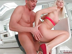 Slut with sexy fake knockers fucked from behind tubes