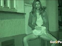 Full bladder girls caught pissing at night tubes