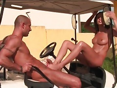 Footjob on a golf cart makes his dick cum tubes