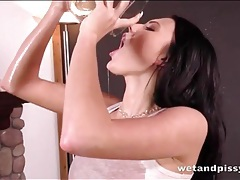 Sipping her warm pee makes the hot girl horny tubes
