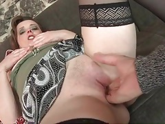 Fingering a horny mature gets her all wet for his big cock tubes
