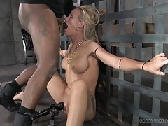 Bound slave ordered to open wide for face fucking tubes