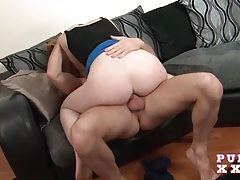 Pale redhead sabrina jay grinds and rides his cock tubes
