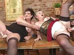 One young dick and three old ladies have group sex tubes
