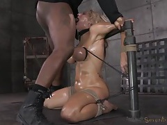 Tied tits girl gags on the cock in her throat tubes