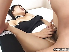 Cute japanese maid fucked in her hairy pussy tubes
