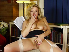 Stockings and garters on a naughty masturbating old babe tubes