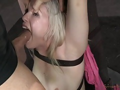 Guys take out her ball gag to fuck her pretty face tubes