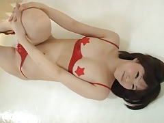Red latex bikini looks hot on a japanese girl tubes