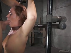 Sloppy gagging blowjob for a pretty girl in bondage tubes