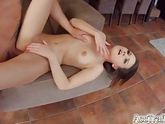Girl in a little black dress fucked in her slutty ass tubes