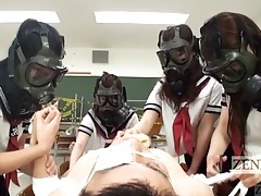 Girls in gas masks caress the body of a horny guy tubes